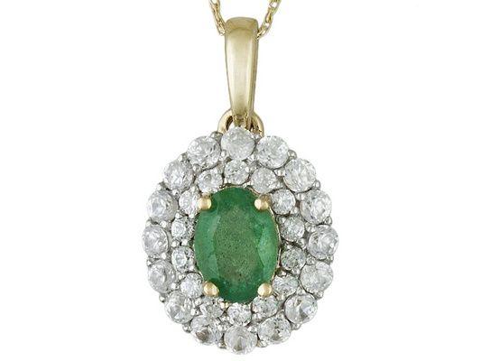 .51ct Oval Zambian Emerald And .97ctw Round White Zircon 10k Yellow Go