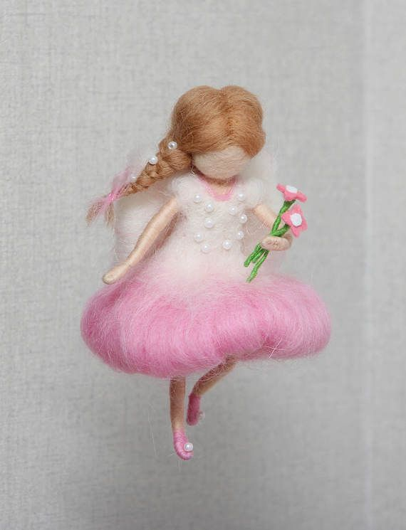 Children Mobile: Flying pink fairy with flowers. Made of wool.
