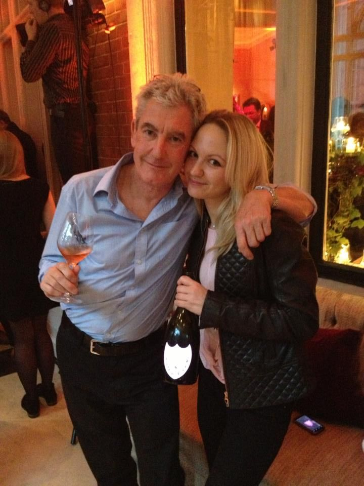 Kim and dad at the Dom Perignon Vintage Rose launch in London.