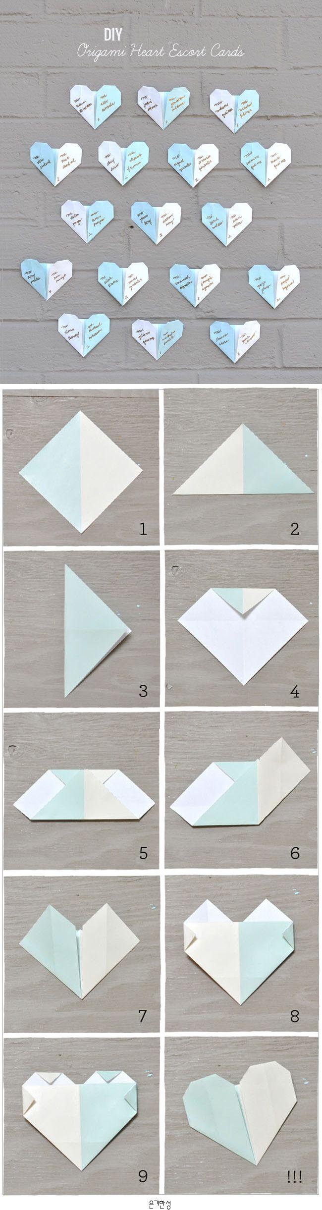 DIY: ORIGAMI HEART ESCORT CARDS  하트 종이접기