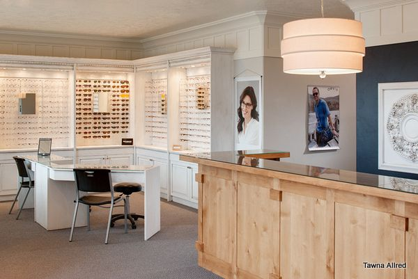 Optometry office.  Interior Design by Tawna Allred. Photography by Paul Richer.