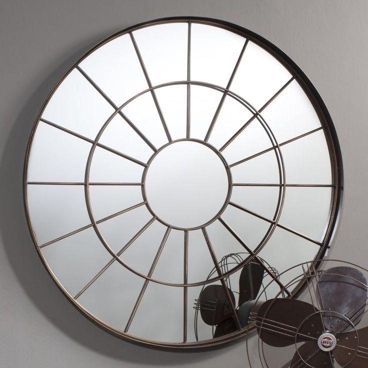 Vault Window Style Industrial Round Mirror, Bronze