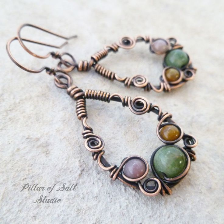 Copper Teardrop Wire wrapped earrings with India Agate by Pillar of Salt Studio