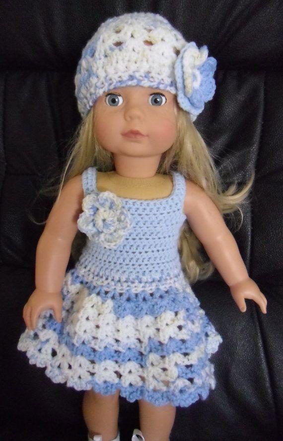 PDF Crochet pattern for summer dress and hat for 18 por petitedolls