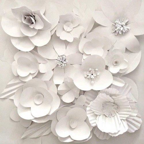 Ektory S Handcrafted White Flower Wall Handmade Giant Paper
