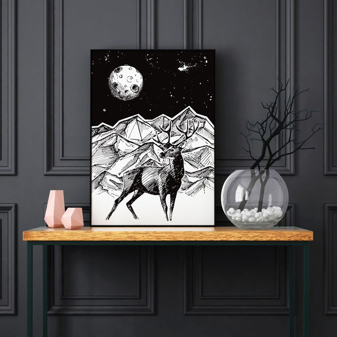 15$/€ Black Deer poster (by hogstudio.design@gmail.com)You can buy it - contact us! #abstract #abstractart #creative #drawing #drawings #deer #cosmos #geometric #corners #blackandwhite #wheel #triangle #abstract #wildanimals #naturelovers