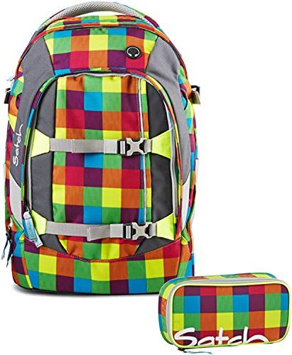 Satch by Ergobag Schulrucksack-Set 2-tlg Beach Leach 2.0 - bunt gepixelt Beach Leach