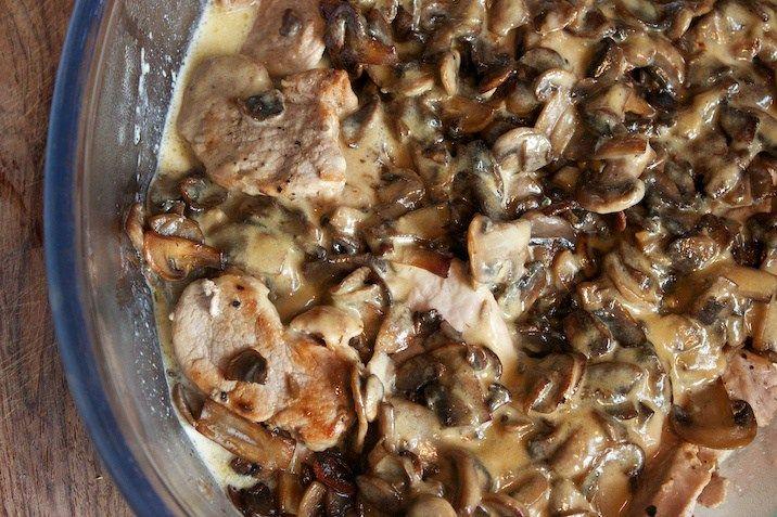 Mørbradbøffer og champignon a la creme