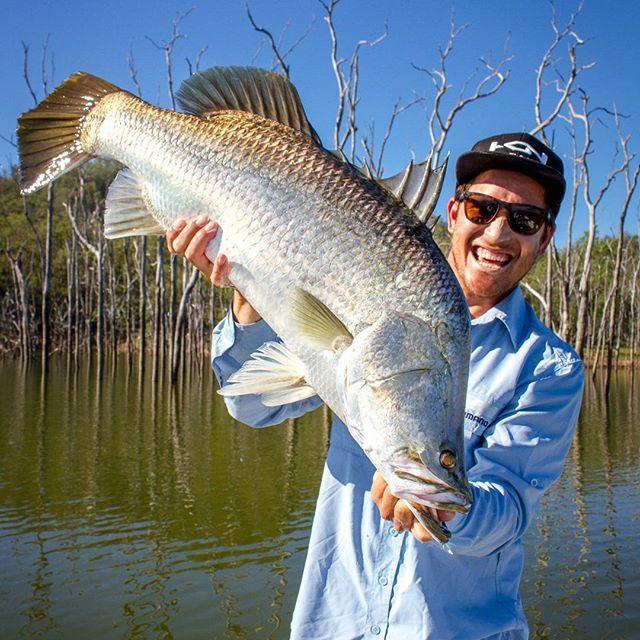 @fezmond with a cracking barra and smile haha! Short film series launching soon, shot by @krank_productions  #shimano #fishing #shimanofish_au #barramundi #barra #australia #krankproductions #instagramfishing #instafish