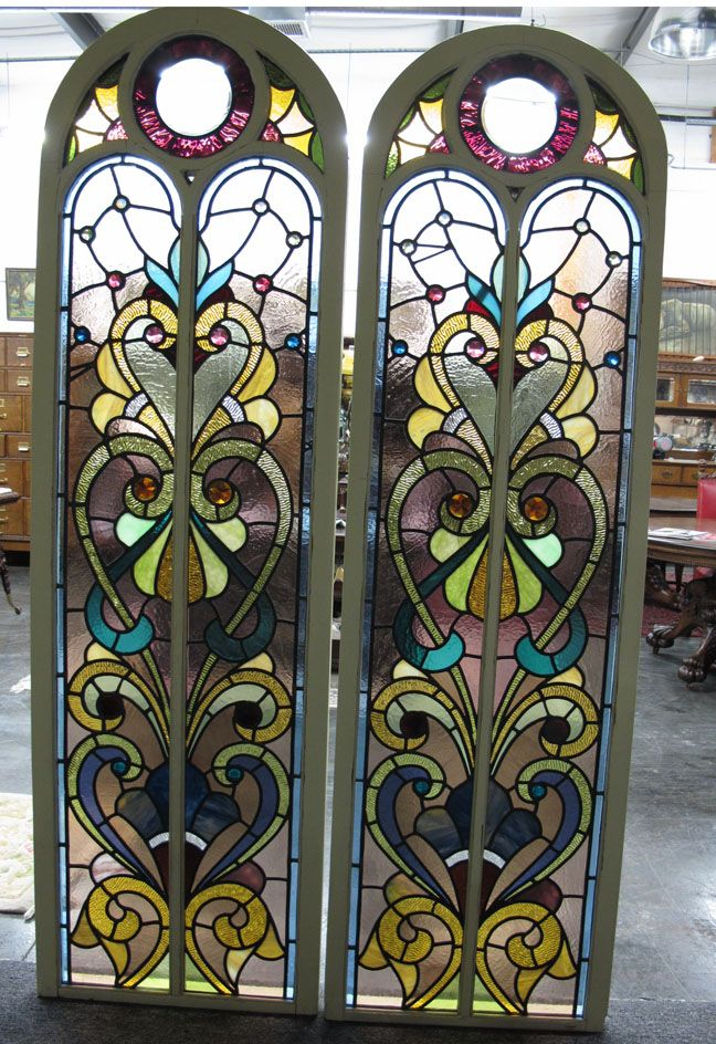 Stained Glass Paysage Antique Stained Glass Arch Top Windows