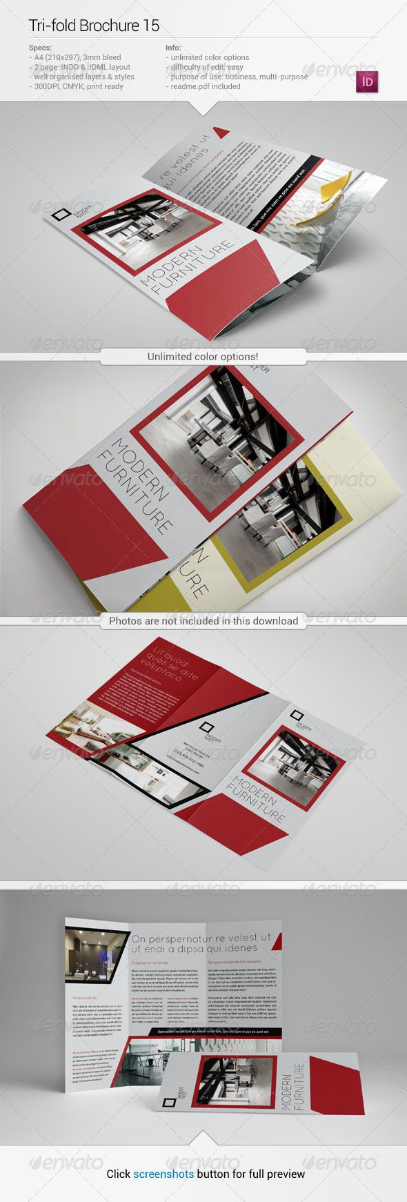Tri-Fold Brochure 15  #GraphicRiver                   About this item Specifications: + 210×297mm, + 300 dpi, + CMYK, + 3mm bleeds, + Unlimited color options, + Well organised layers, + Fully editable InDesign CS5 and CS4 file, + Photos and fonts are NOT included (links below or in readme file).  Fonts used: Roboto –  .fontsquirrel /fonts/roboto Quicksand –  .fontsquirrel /fonts/quicksand If…