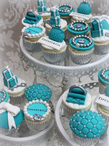 Tiffany and Co cupcakes. Maybe for bridal shower or out of town guest pre-wedding mixer? Mix with blush pink