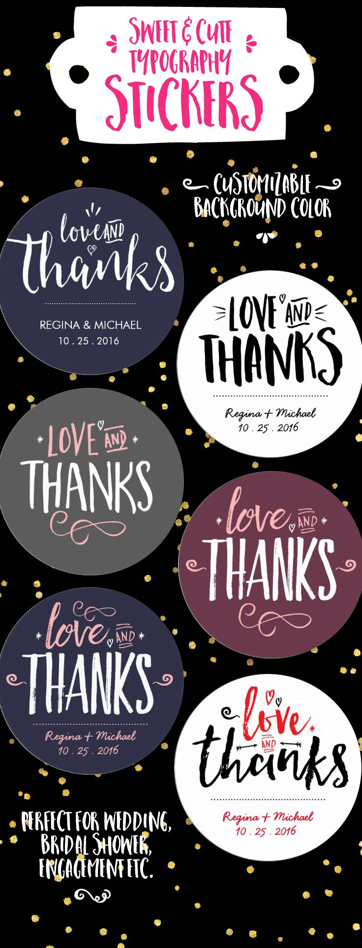 Sweet and cute typography stickers Love and