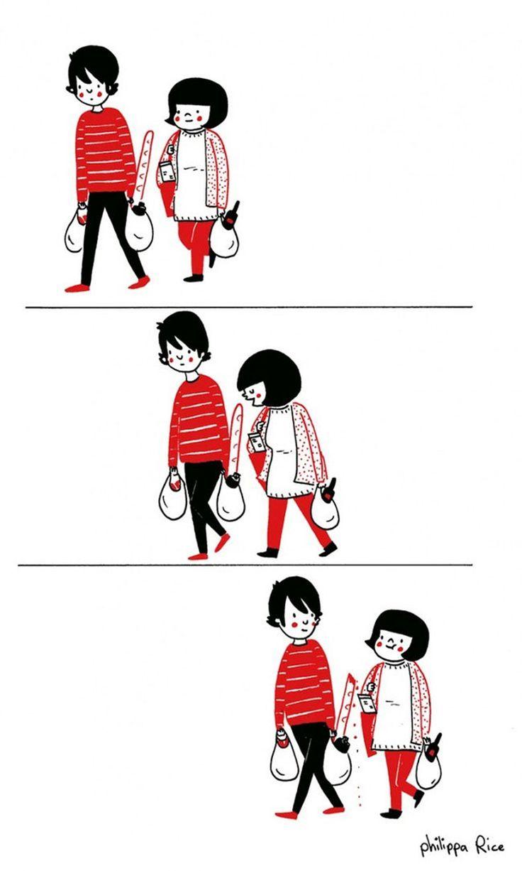 14 illustrazioni di piccoli momenti quotidiani che rendono felice una coppia