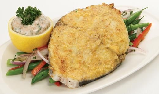 Cornmeal crusted mackerel steaks with spicy yogurt sauce for Yogurt sauce for fish