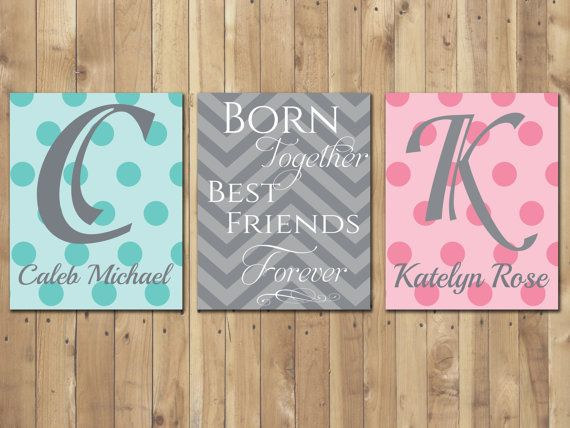 Twin Names with Quote Born Together Best by ThumbelinaArtStudio