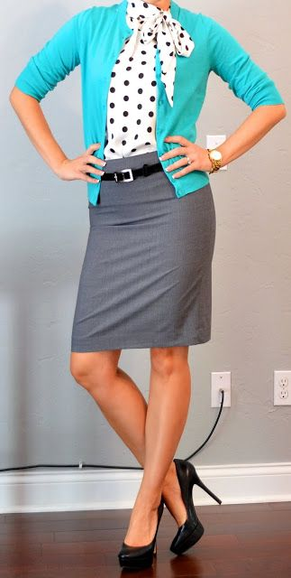 outfit post: teal cardigan, grey pencil skirt, polkadot tie blouse | Outfit Posts Dynamic