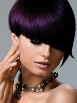 Your hair will be the envy of women in a sexy night club or a classy cocktail party with this fabulously sleek purple pixie hairstyle.