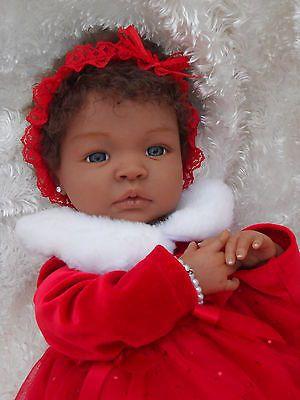 Bebê Reborn Shyann ÉTNICA BIRRACIAL por Aleina Peterson cabelos castanhos & Olhos Azuis