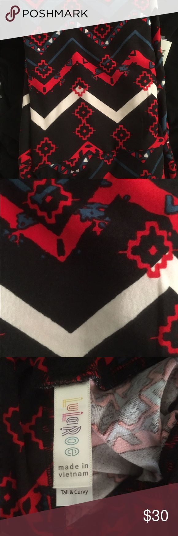 Aztec print on black TC leggings Red, Teal cream on black. TC fits 14-22 LuLaRoe Pants Leggings