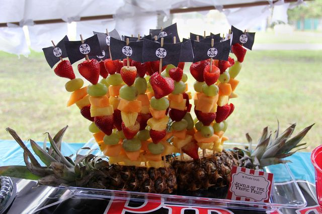 Fruit skewers at a Pirate Party.  See more party ideas at CatchMyParty.com. #piratepartyideas