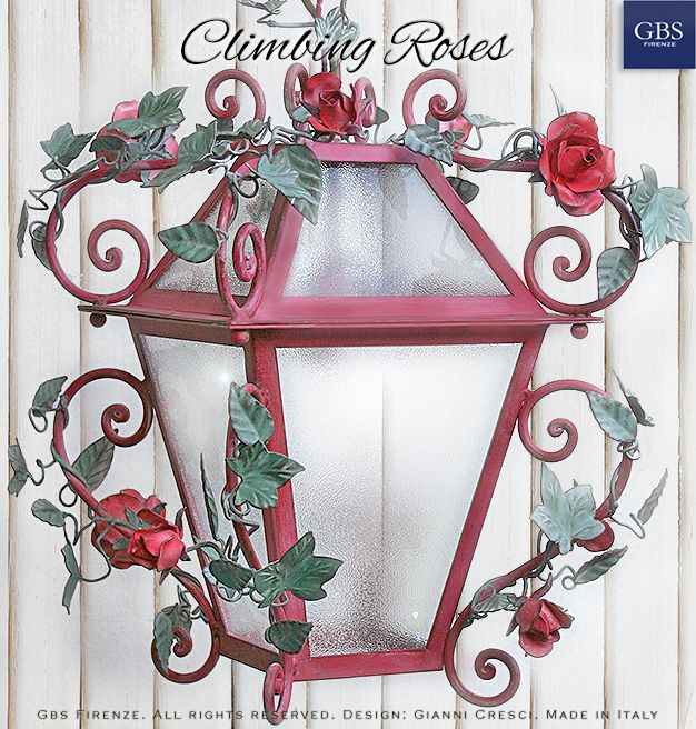 Climbing Roses. Hand-painted wrought iron 1-light lantern. Handmade in Florence. Design: Gianni Cresci. All rights reserved.
