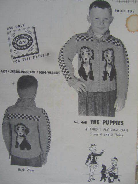 SeeSallySew.com - The Puppies Cardigan Child's Knit Mary Maxim No. 468 Knitting Pattern  Sz. 4