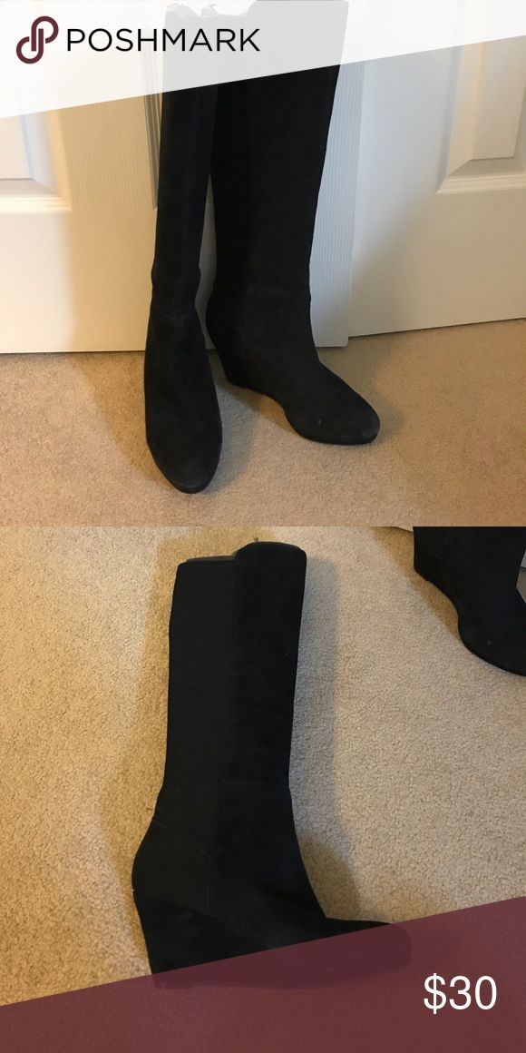 Enzo Angiolini black suede wedge boots Enzo Angiolini black suede wedge boots Enzo Angiolini Shoes Heeled Boots