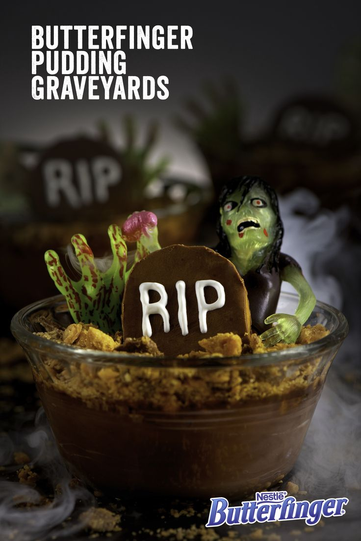 You'll be HalloWINNING with these super easy-to-make RIP Graveyard treats. Just carve a Butterfinger Cup into the shape of a tombstone, write RIP with melted chocolate, refrigerate for 15 minutes, and place your gravestone in a bowl with pudding and Butterfinger crumbles. Voila! Deadly delicious Halloween fun.