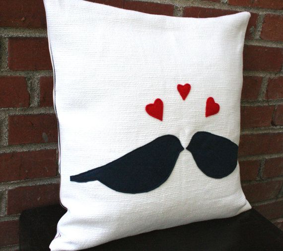 Accent Pillow Cover - Love Birds - Cotton and Wool Felt Applique with Pinstripe Vintage Fabric Back $36