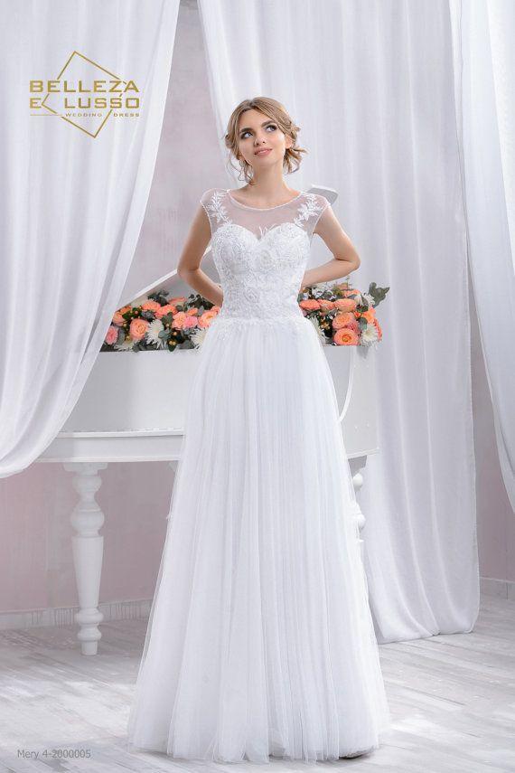 Long Slim Wedding Dress Lace Wedding Dress by LussoDresses on Etsy