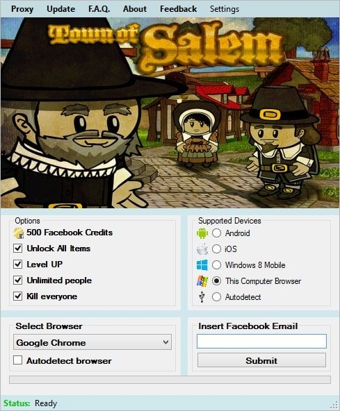 Hello folks, I hope you are enjoying Town of Salem. I am, because of the Town of Salem Hack that I downloaded from another website, which is still working. It has features such as instant players killing, leveling up, Facebook Credits bonus and item unlocking. To be honest, I couldn't invite... https://hacksource.net/town-of-salem-hack/