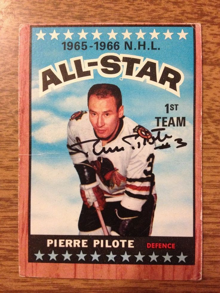 Pierre Pilote 1966-67 All-Star 1st Team  Signed Card