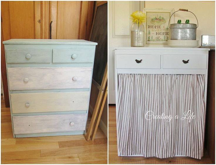 DIY Farmhouse Style Kitchen Cabinet....cute camouflage for the garbage can and some extra counter space as well!