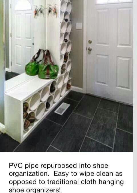 Pvc shoe rack...like the wood surround. Dresses it up, and gives a flat surface on top.