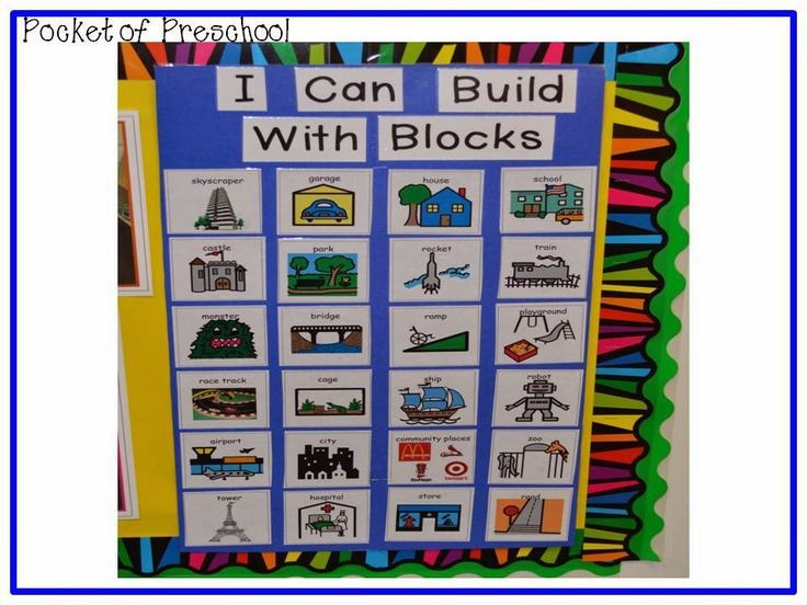 Blocks Center: We brainstormed and created a list of all the things they can build with blocks the first week. It is a great tool for students to use when they can't think of anything to build or ALWAYS build the same thing over and over. Pocket of Preschool