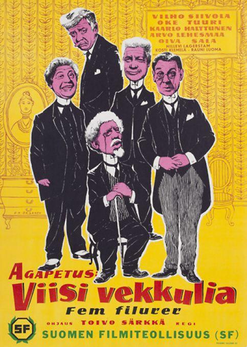 Viisi vekkulia, Poster from 1956.
