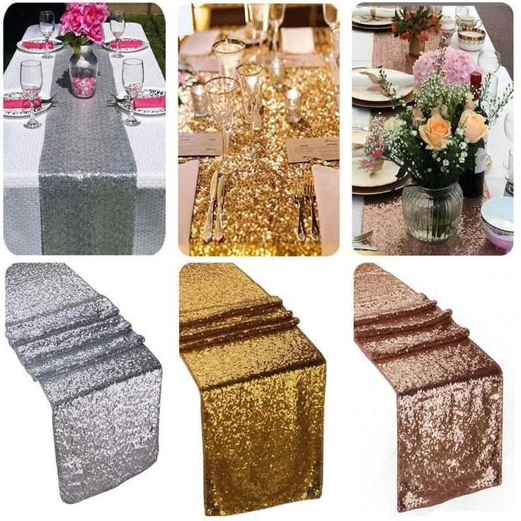"12""x118"" Gold Sequin Table Runner Wedding Party Decorations Table Decoration MR #Unbrand"