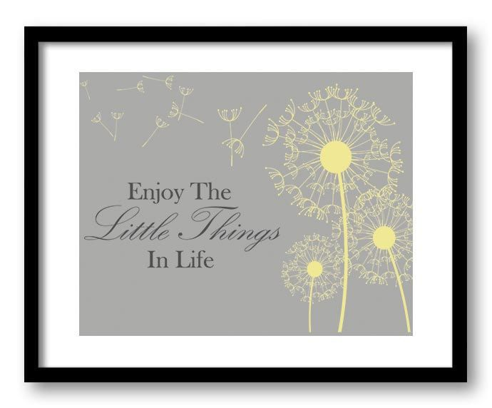 Wonderful Enjoy The Little Things In Life Inspirational Quote Print Art Poster Text Yellow  Grey Gray Dandelion Bathroom Wall Decor Motivational Part 30