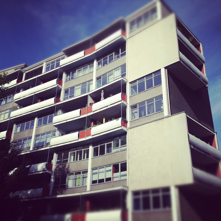 Bauhaus architecture by Walter Gropius at Hansaviertel in Berlin. We visit this location on our Divided City walking tour. http://www.contexttravel.com/city/berlin/walking-tour-details/divided-city-berlin-in-the-cold-war $85 per person    #architecture #berlin #travel