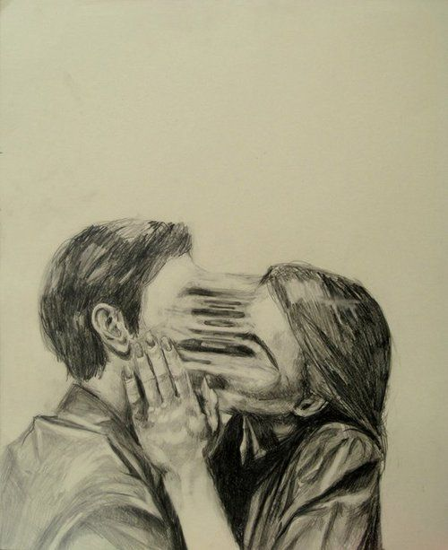 This picture is a disorder. What is usually such a lovely thing when people kiss, there is something very disturbing about it. Their faces are stuck together which makes you feel uncomfortable.