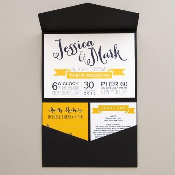 Black, white and yellow pocket fold wedding invitation