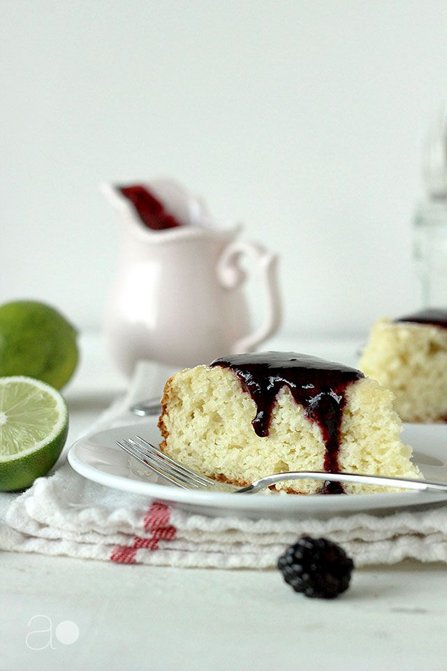ambrosia: Lime Sour Cream Cake with Fresh Blackberry Sauce