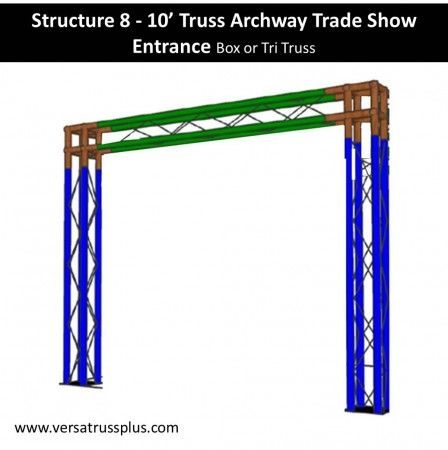 10' trade show archway trade show booth kits. Our 10' trade show archway exhibit kit comes with all of the truss components and hardware to erect a complete 10' trade show archway display booth. Our lightweight aluminum truss 10' trade show archway booth kit is economical to purchase, designed for longevity and is completely modular in design allowing you to increase the size of your 10' trade show archway exhibit kit at any time.