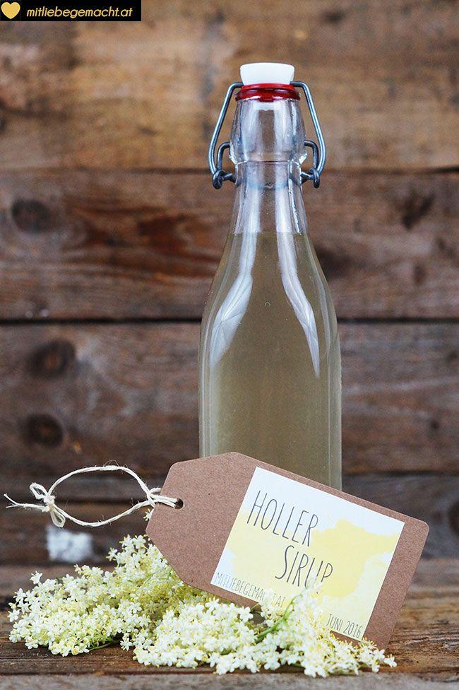 Hollersirup mit erfrischender Minze