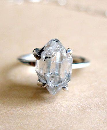 Herkimer Diamond Ring $120: Herkim Quartz, Handmade Herkim, Diamond Rings, Herkim Diamonds Rings, Gorgeous Handmade, Erica Weiner, Weiner Herkim, Quartz Rings, Diamonds Solitaire Rings