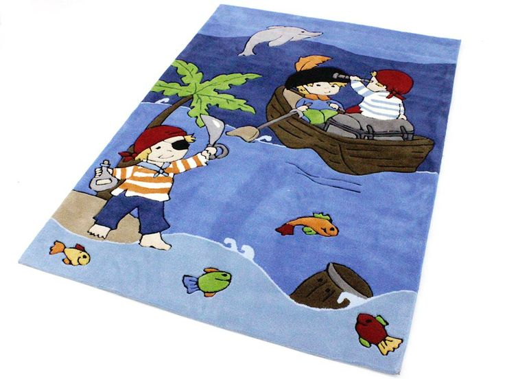 Piraten Handtuft Kinderteppich Spielteppich blau 120x180 cm