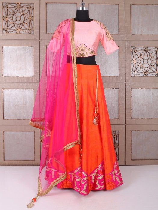 Pink And Orange Silk Lehenga Choli