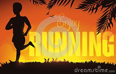 Summer sunset, in a park with a man running, birds and palm leaves in…