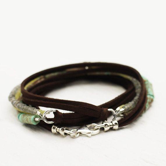 Bohemian Gemstone Deerskin Leather Unisex Tribal Wrap by byjodi